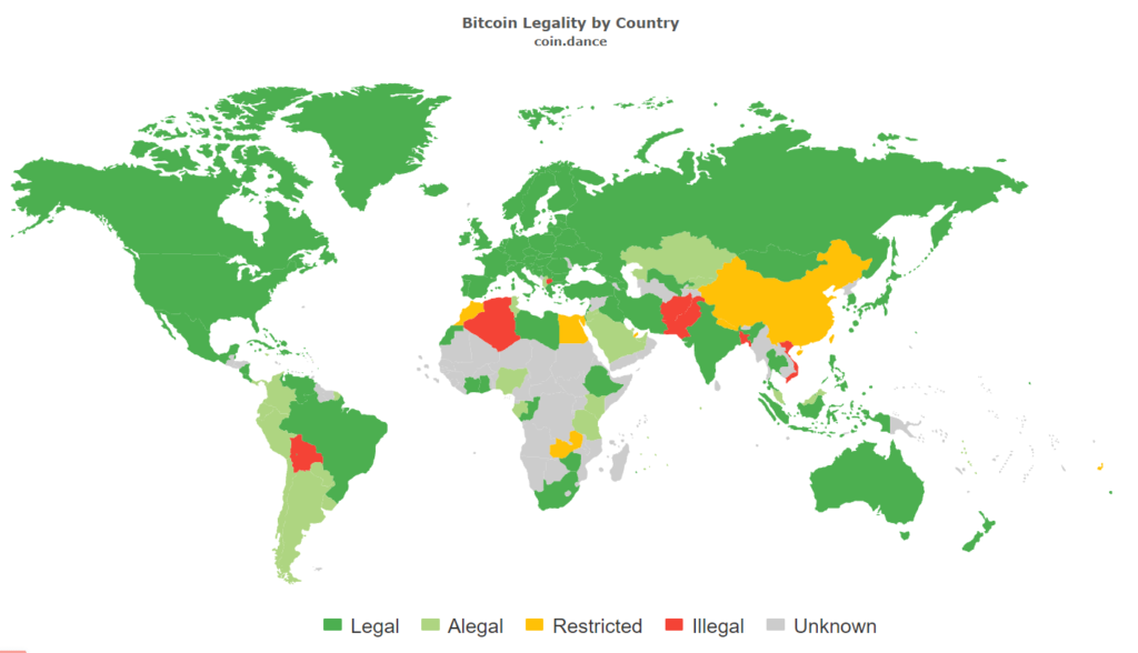 Карта легальности биткоина